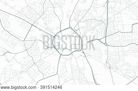 Urban City Map Of Coventry. Vector Illustration, Coventry Map Grayscale Art Poster. Street Map Image