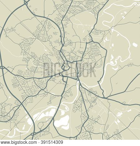 Detailed Map Of Wakefield City Administrative Area. Royalty Free Vector Illustration. Cityscape Pano