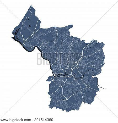 Bristol Map. Detailed Vector Map Of Bristol City Administrative Area. Cityscape Poster Metropolitan