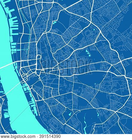 Detailed Map Of Liverpool City Administrative Area. Royalty Free Vector Illustration. Cityscape Pano