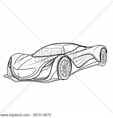 Sketch Of A Sports Car, Coloring Book, Cartoon Illustration, Isolated Object On White Background, Ve