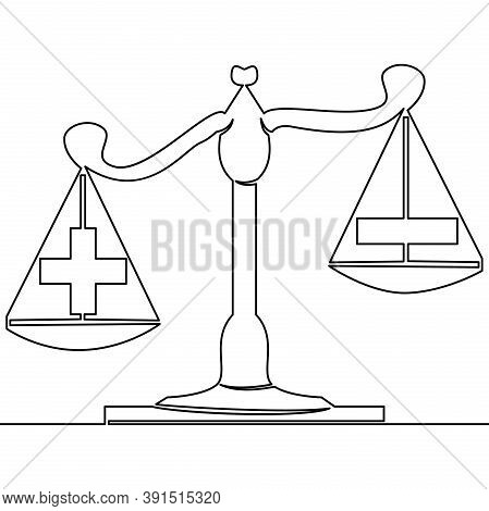 Continuous One Single Line Drawing Choosing Priority Selection Icon Vector Illustration Concept