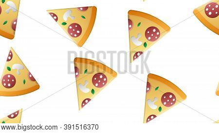 Slice Of Pizza On A White Background, Vector Illustration, Pattern. Pizza Stuffed With Sausage, Baco