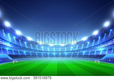 Soccer Stadium Perspective Background With Green Lawn And White Gates, Tribunes With Spotlights, Blu