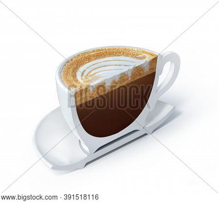 Half A Cup Of Macchiato. Vertical Cut Of Cup With Macchiato. 3d Illustration