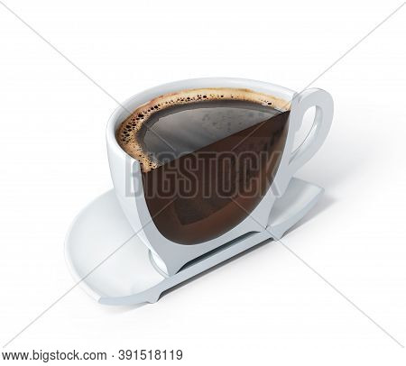 Half A Cup Of Americano. Vertical Cut Of Cup With Americano. 3d Illustration