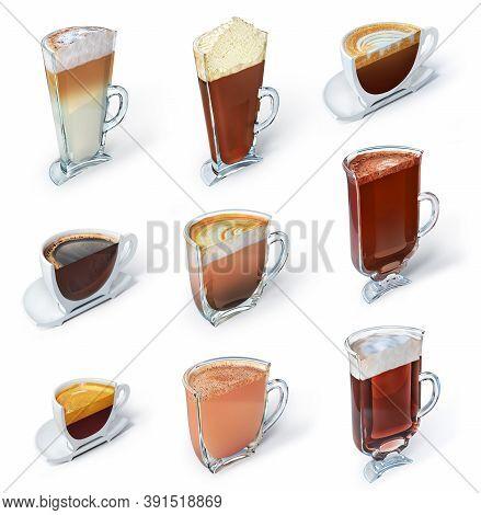 Set Of Vertical Cut Of Cups With Coffee Drink. Espresso, Americano, Macchiato, Glace, Irish, Latte,