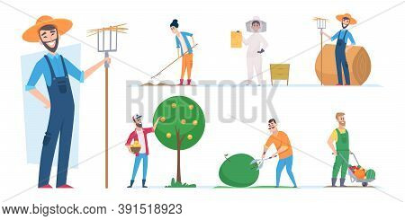 Farmers Characters. Agricultural Workers Ethnic People Vector Illustrations Cartoon. Character Farme