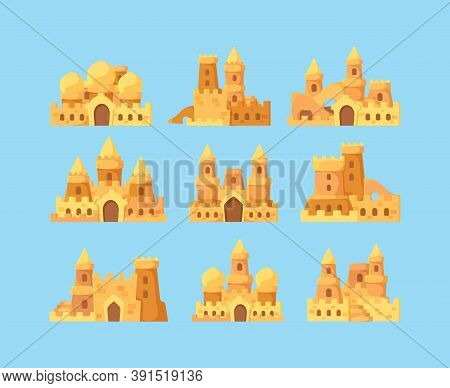 Sandcastles For Kids. Vacation Activities Children Builders Making Sandcastles Fortress Palace Near