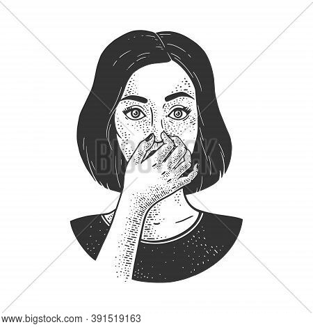 Bad Smell Stench Stink. Girl Holding Nose With Fingers Sketch Engraving Vector Illustration. T-shirt