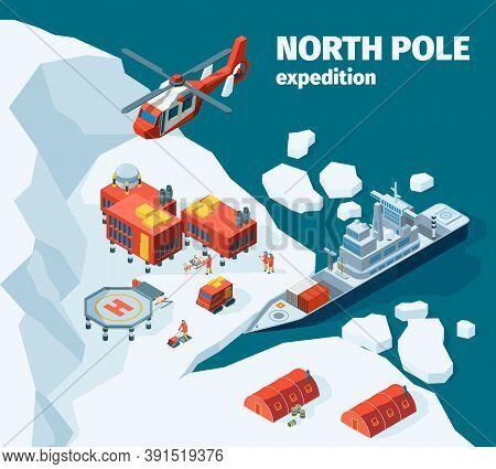 Meteorological North Station. Polar North Pole Background Explorer Tourism Antarctica Buildings Vect