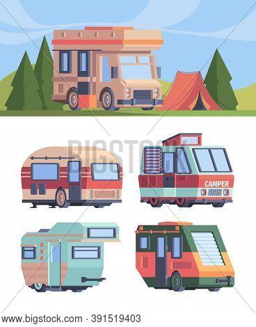 Camper Van. Vector Explorer Truck Vehicle For Travellers Motorhomes Vector Set In Flat Style. Illust