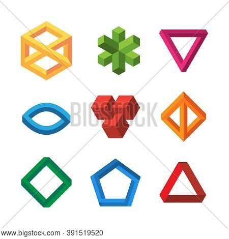 Infinity Illusions Geometry. Impossible 3d Shapes Triangles Loop Hexagons Escher Vector Collection.