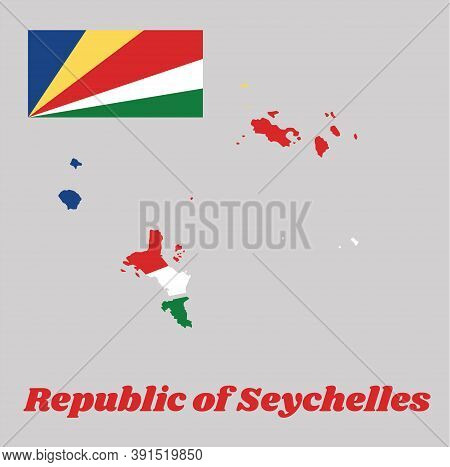 Map Outline And Flag Of Seychelles, Five Oblique Bands Of Blue, Yellow, Red, White And Green Radiati