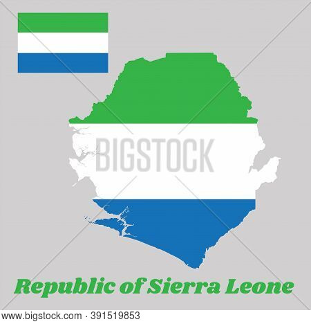 Map Outline And Flag Of Sierra Leone, A Horizontal Tricolor Of Light Green, White And Light Blue. Wi