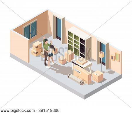 Couple Moving Packing. Happy Young Family Opening Packages In New House Home Apartments Vector Isome