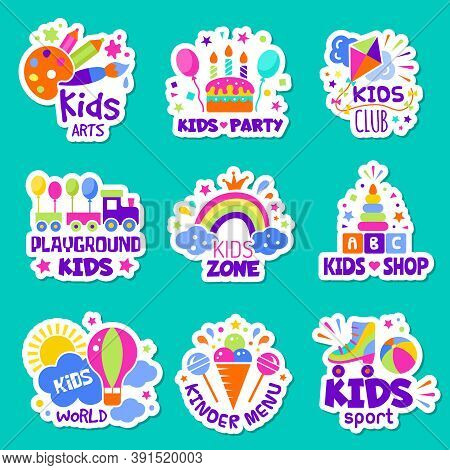 Kids Logo. Toys Shop Identity Creative Children Club Badges Kids Playing Zone Symbols Vector Collect