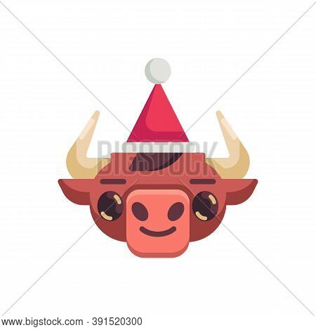 Bull With Xmas Hat Flat Icon, Vector Sign, Happy Ox Year Emoji Colorful Pictogram Isolated On White.