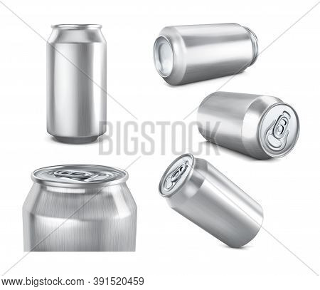 Aluminum Cans. A Set Of Different Types For A Mockup. Vector Illustration.
