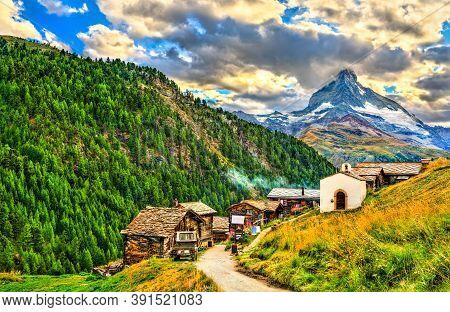 View Of The Matterhorn Mountain At Findeln Near Zermatt - The Canton Of Valais, Switzerland