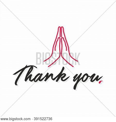 Thanks Giving Banner | Thank You Typography  - Illustration | Folded Hands