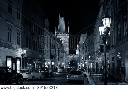 PRAGUE – OCT 8: Street view at night on October 8, 2016 in Prague, Czech Republic. Prague is the capital and largest city in Czech Republic with rich culture and history.