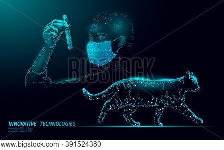 Cat Silhouette Veterinary Clinic Banner Template. Analysis Microscope Virus Infection. Vet Care Medi