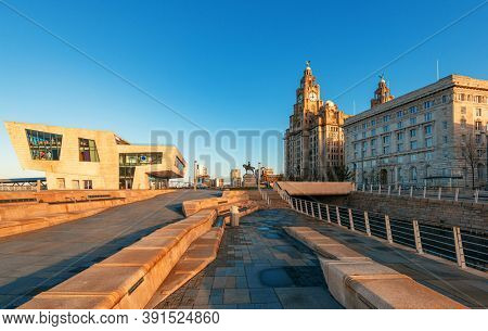 Liverpool historical architecture with cityscape in city center in England in United Kingdom