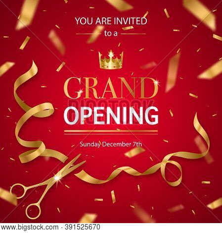 Grand Opening Invitation Card Poster With Realistic Golden Scissors Cutting Ribbon And Crown Red Bac