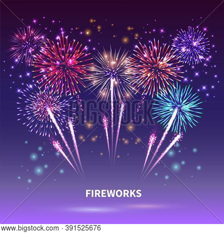 Fireworks Composition With Colourful Images Of Shiny Firework Spots Of Different Shape On Gradient B