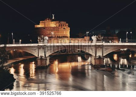Castel Sant Angelo in Italy Rome at night