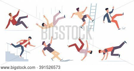 Falling People. Danger Caution Wet Floor, Falling Down Stairs, Slipping, Stumbling And Downfall Inju