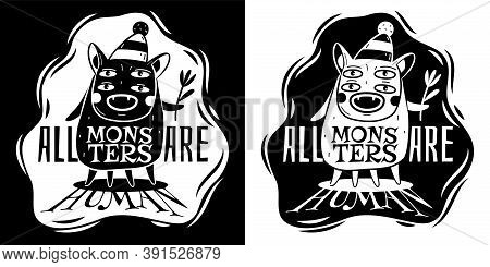 Monster Poster. Funny Black And White Monsters With Big Mouth And Fangs, Bizarre Happy Creature Trol