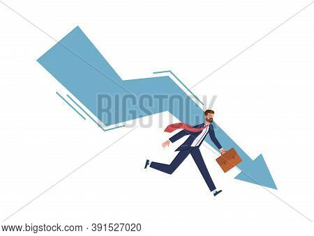Panic Businessman Try Stopping Falling Arrow. Business Bankruptcy And Unpaid Loan Debt Company Start