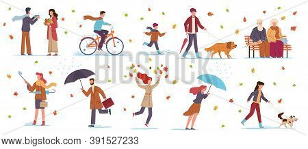 People In Autumn Park. Characters In Fall Season Walking With Dog, Riding Bicycle, Family With Umbre