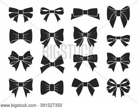 Gift Bow Icons. Decorative Black Bows Silhouettes, Elegant Ribbon For Birthday Present Boxes Packagi
