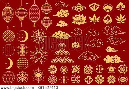 Asia Elements. Chinese Festive Decorative Gold Traditional Symbols, Lotus Flowers And Lanterns, Clou
