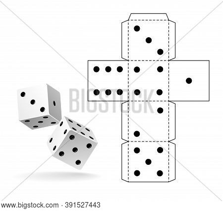 Casino Dice. Paper Cut Out Cube Geometry Toy, Layout White Dice Model With Black Points Marks, Handc