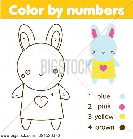Coloring Page For Kids. Educational Children Game. Color By Numbers Cute Bunny Doll Toy