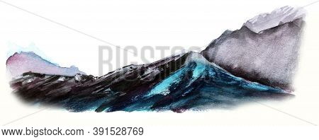 Abstract Watercolor Landscape Of Mountain Ranges. Brutal Grunge Stone Rocks Separate On White Backgr