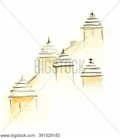 Pencil Sketch Of Dargavs City. High Gabled Roofs Of Tombs Randomly Located On Sandy Hill Of Ghost To
