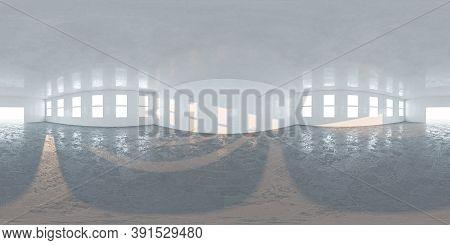 Panorama 360 View In Modern White Empty Loft Apartment Interior Full Seamless 360 Equirectangular Pa