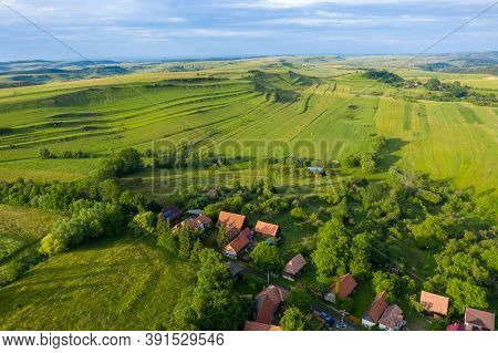 Flying Over A Village In Transylvania, Romania By Drone