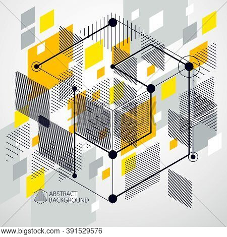 Geometric Technology Vector Yellow Drawing, 3D Technical Wallpaper. Illustration Of Engineering Syst