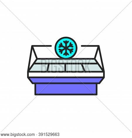 Freezer Cold Color Line Icon. Household Equipment.