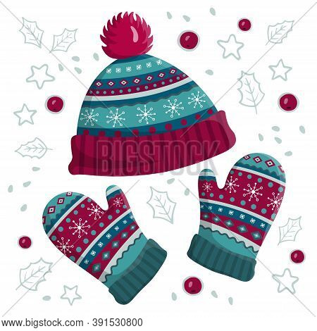 Warm Knitted Hat And Mittens. Cute Winter Accessories Cap And Gloves Isolated On White Background. V