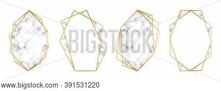 Gold Geometric Frames With Marble Inserts. Set Of Golden Frames Or Borders For Wedding Invitations W