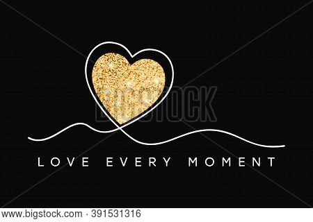 T-shirt Design With Glitter Heart. Slogan Love Every Moment, Typography Graphics For Tee Shirt With