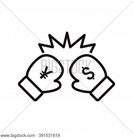 Us Dollar Vs Chinese Yuan Renminbi (cny) Icon In Line Style. Trade War Between China And Usa.