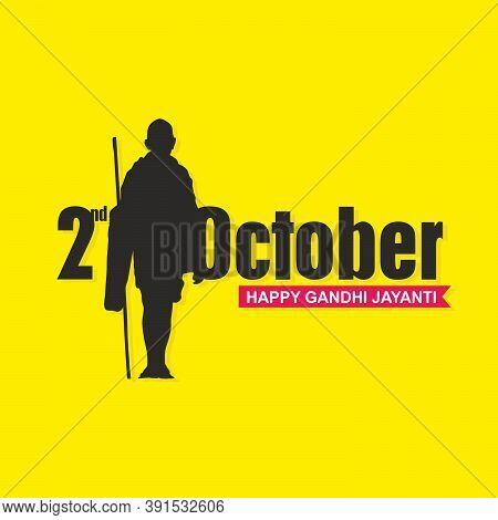 Happy Gandhi Jayanti Banner | Editable Illustration On Yellow Background